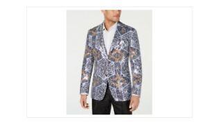 Tallia Men's Slim-Fit Abstract Sequin Dinner Jacket - Navy 50 Regular