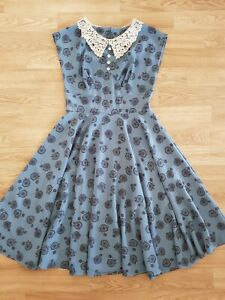 Hell Bunny 1950s Dress 'Penny Lover' Size S 10 - Farthing Bicycle Lace Collar