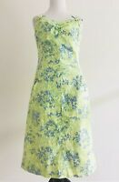 Tibi Womens Size 8 Floral Sheath Dress Green Spaghetti Strap Cotton Stretch
