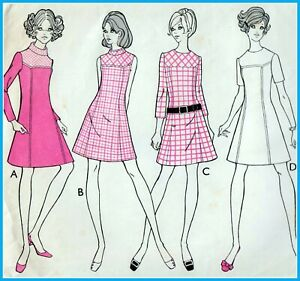 """EASY Vintage 60s Mod DRESS Sewing Pattern UNCUT Bust 34"""" 87 cm RETRO Yoke SEAMED"""