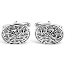 Sterling Silver Celtic Oval Cufflinks with Gift Box