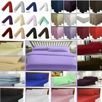 Plain Dyed Fitted Sheet Valance Frilled Sheet Flat Sheet PolyCotton V PillowCase