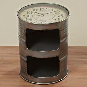 Geniale Kommode Uhr Ölfass 59cm Tisch Fass Eisen Beistelltisch Grau Neu