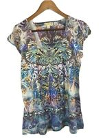 Apt 9 Top Women's Size M, Sublimation, Cap Sleeve, Studs, Embellished, Colorful