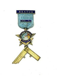 Vintage Solid Silver C1951 Sextus Lodge of Accord Enamel Masonic Medal 31g #1588