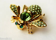 NEW Joan River Large Green Peridot August BIRTHSTONE BEE PIN Brooch Pave Crystal