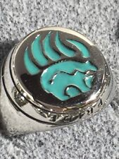 Native Pride Ring Turquoise Resin Bear Claw Ring Stainless Steel
