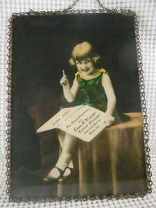 Antique ADVERTISING FLUE COVER Furniture Case & Moyer Funeral Directors AKRON IN