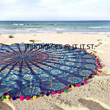 46 Mandala Round PomPom Yoga Indian Cotton Mat Throw WallHanging Beach Tapestry