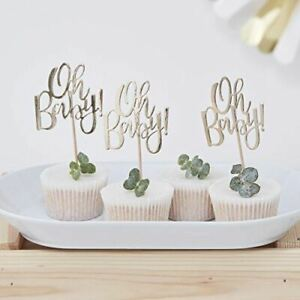 Gold Baby Shower Cake Toppers | Oh Baby! Foiled Gender Neutral Unisex x12