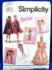 Simplicity Pattern 7601 Barbie Doll Wardrobe Dress Gown Bag Panties Shrug 1991