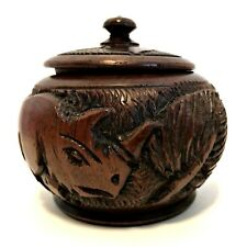 Hand Carved Wooden Trinket Box Bowl with Lid Rhinoceros Leaves 4 inches Tall