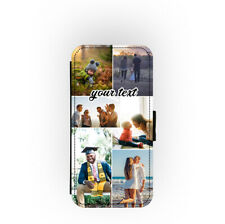 Personalised Custom Texts Photo Collage Picture Flip Wallet Phone Case Cover