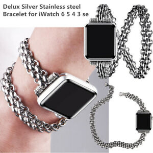 Punk Chain Metal Band Double Wrap Around for Apple Watch Iwatch SE Series 6 5 4
