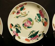 3 Antique Chinese Plates - Qing Ming ? Dynasty- Hand painted Auspicious Motifs