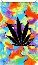 Cannabis Leaf Marijuana Rastafarian Rasta Tie-Dye Banner 5'x3' Flag