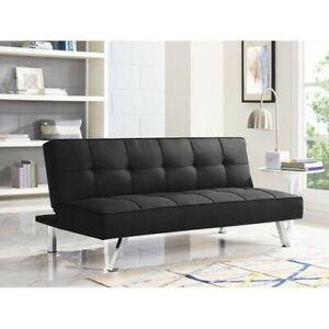Futon Sofa Bed, Serta Chelsea 3-Seat Multi-function Fabric Futon, Black
