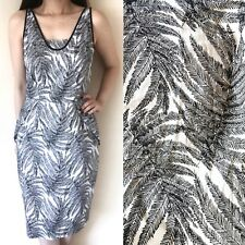 COUNTRY ROAD Black White Leaf Tropical Palm Print Bodycon Pencil Dress 8 Party
