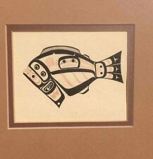 "Larry Rosso First Nations Fish Art Framed Lithograph Pacific Northwest 11"" x 12"""