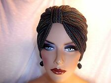 """Chemo Turban Multi-color Threads Black Open Weave Knit  """"Something4you"""" Alopecia"""
