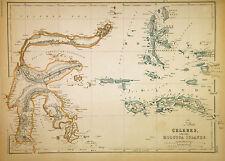 1859 Weller Map of Borneo and Celebes (Sulawesi), Indonesia - ORIGINAL