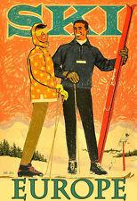 Travel Ski Europe  Holiday Vacation Skiing Winter Poster Print