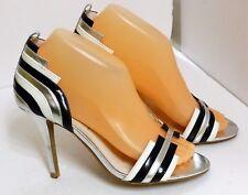 VGUC Jeffrey Campbell Women's Sz 7 Black, White & Silver Leather Open Toe Heels