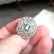 3.05TCW Colombian Emerald & Rose Cut Diamond Sterling Silver Ring
