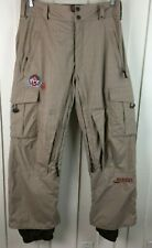 BURTON Ski Snowboard Pants Cargo Pockets Lined Brown Glen Plaid Men's Size SMALL