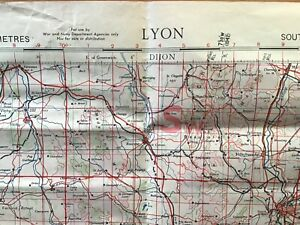 ORIGINAL WW2 BRITISH RAF/WAR OFFICE 1:500,000 EUROPE (AIR) MAP: LYON, FRANCE