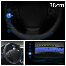 Diy 38cm Blue+Black Genuine Leather Car Steering Wheel Protector Cover Anti-Skid (Fits: More than one vehicle)
