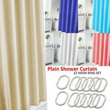 Waterline Plain Bathroom Water Splash Resistant Shower Curtain 12 Matching Rings
