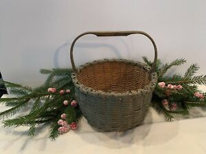 Antique Primitive Egg Basket  Blue/Green Paint Hand Carved Handle