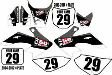 2004-2016 HONDA CRF 50 Graphics Kit Custom Number Plates Black Stripe XR50.com