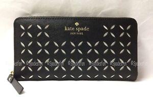 Kate Spade WLRU2181 Spice Market Neda Zip Around Wallet Clutch BLACK BONE NWT