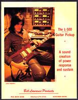 1981 Aerosmith Guitarist Joe Perry in Studio photo L-500 Guitar Pickup print ad