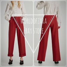 NWT ZARA WIDE TROUSERS W/ BELT PANTS SIZE SMALL Ref. 7455/257 RUSSET RED