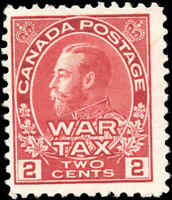 1915 Mint Canada Scott #MR2 2c War Tax Issue Stamp No Gum