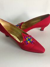 Paloma Picasso Vintage Red Silk Beaded Shoes With Kitten Heel