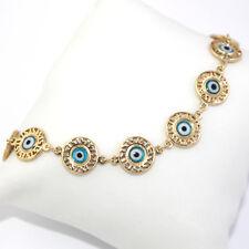 14k Gold Filled Ankle Bracelet Chain Link Medal Blue Turkish Evil Eye Protection
