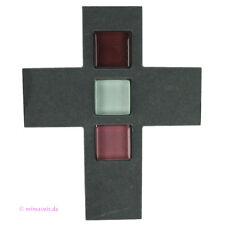 Wandkreuz Kreuz aus Schiefer mit farbigen Glaseinlagen Stein und Glas Geschenk