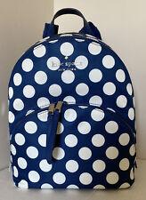 New Kate Spade Karissa Nylon Seaside Dot Medium Nylon backpack Blue / White
