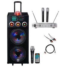 "NYC Acoustics Dual 12"" Karaoke Machine/System w/2) Mics 4 ipad/iphone/Android/TV"