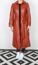 Leather Jacket Long UK 8 XS Fitted Orange Brown  (J5I)