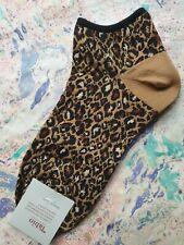 Tabio Japan Womens Cotton Short Ankle Socks Leopard Beige & Browns UK 4 EU 37
