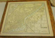 1890 Antique Map///TOLEDO, OHIO, b/w DETROIT, MICHIGAN