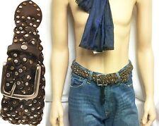 $89 William Rast Leather Braid Belt Stud sz 32 Jeans Pants Skirt Men Women Gift