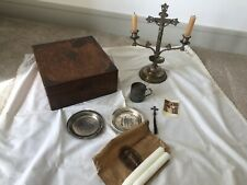 More details for rare victorian travelling communion set in stunning wooden oak ? box