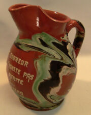 ! Antique RARE French Redware Slipware Pottery Wine Pitcher CHAMBERY Wine