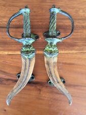 Bronze Pagan Dagger Statue Mystical Door Handles Set